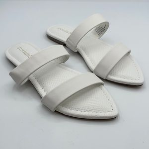 Shoedazzle women's Adelphi white flat sandal